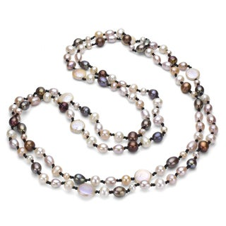 DaVonna Double-knotted Multicolored FW Pearl 60-inch Endless Necklace (12-13 mm)