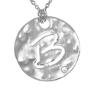 Sterling Silver Diamond Alphabet Initial Necklace