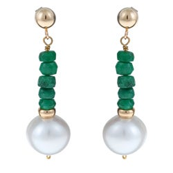 DaVonna 14k Gold White FW Pearl and Emerald Drop Earrings (10-11 mm)