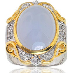 Michael Valitutti Palladium Silver Chalcedony and Sapphire Ring