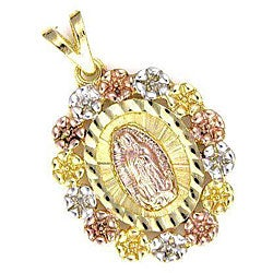 14k Goldplated Tricolor Virgin Mary with Flowers Pendant (Mexico)