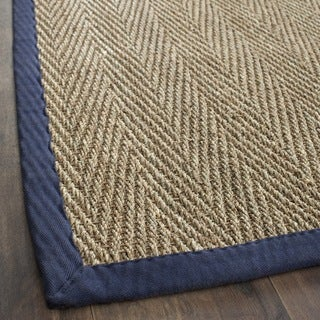 Safavieh Hand-woven Sisal Natural/ Blue Seagrass Rug (3' x 5')