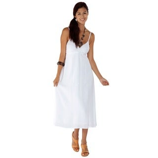 Women's Embroidered/ Sequined White Long Dress (Indonesia)