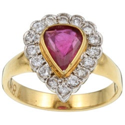 Pre-owned 18k Gold Ruby and 1/2ct TDW Diamond Estate Ring (H, VS2) (Size 6.5)