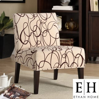 ETHAN HOME Comfortable Chocolate Swirl Print Lounge Chair