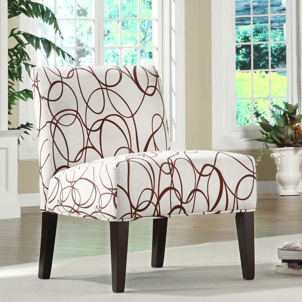 TRIBECCA HOME Comfortable Chocolate Swirl Print Lounge Chair