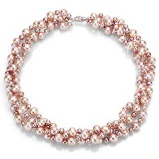 DaVonna Silver Pink FW Pearl 3-row Twisted Necklace (4 mm/ 8 mm)