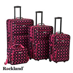 Rockland Black/Pink Dot 4-piece Expandable Luggage Set