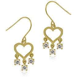 Icz Stonez 14k Gold Cubic Zirconia Mini Chandelier Heart Earrings