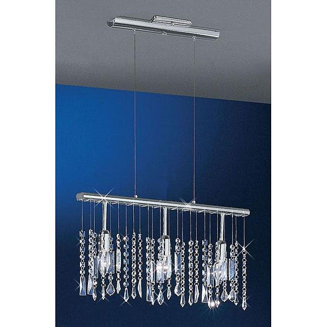 Linear 22-inch Bar Pendant 3-light Adjustable Chrome Crystal Chandelier
