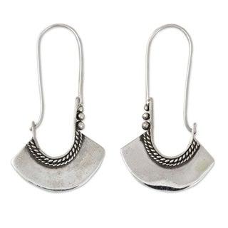 Sterling Silver 'Hollow Bell' Hoop Earrings (Thailand)