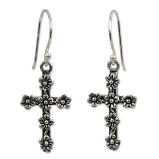 Sterling Silver 'Blooms and Crosses' Earrings (Thailand)