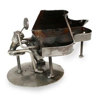 Iron 'Rustic Piano Man' Statuette (Mexico)