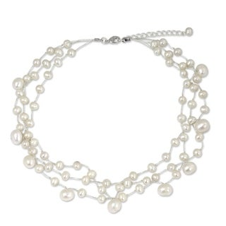 Stainless Steel 'Moonlight Glow' Pearl Choker (Thailand)