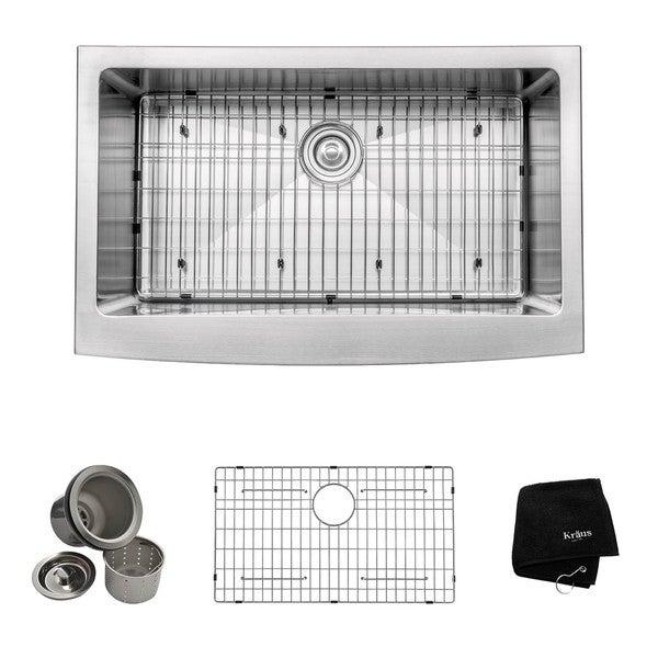 Kraus 33-inch Farmhouse Apron Single-bowl Steel Kitchen Sink