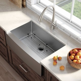 Kraus 36-inch Farmhouse Apron Single-bowl Steel Kitchen Sink