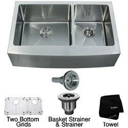 Kraus 33-inch Farmhouse Apron Double-bowl Steel Kitchen Sink