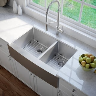 Kraus 36-inch Farmhouse Apron Double-bowl Steel Kitchen Sink