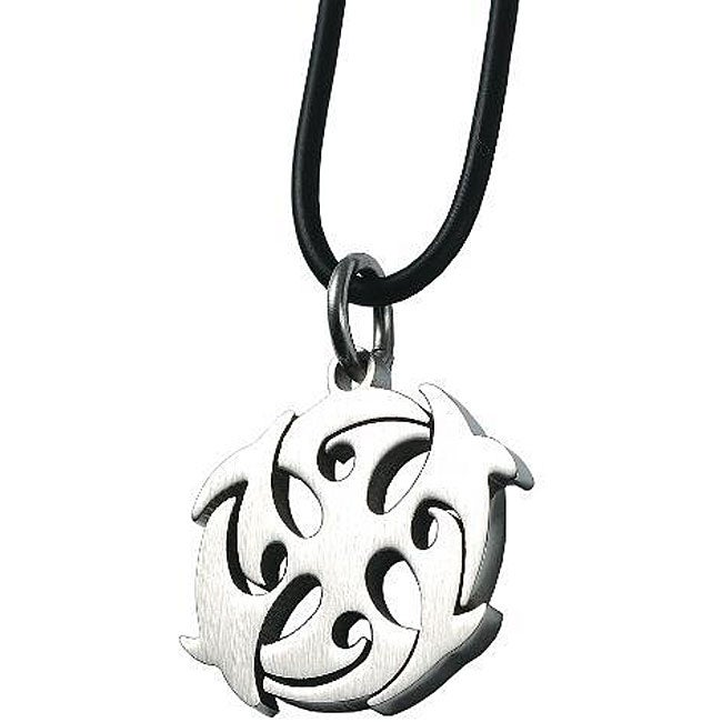 Stainless-Steel Dolphin Design Pendant Necklace