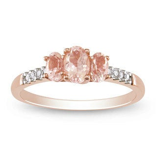 Miadora 10k Pink Gold Morganite and 1/10ct TDW Diamond Ring