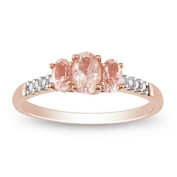Miadora 10k Pink Gold Morganite and 1/10ct TDW Diamond Ring
