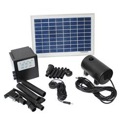 Solar Powered 8-watt 18-volt Water Pump with Battery and Timer