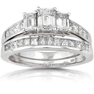 Annello 14k Gold 2ct TDW Emerald-cut Three Stone Diamond Bridal Ring Set (H-I, SI1-SI2)
