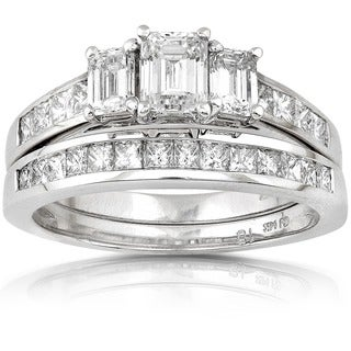 Annello 14k Gold 2ct TDW Emerald-cut Three Stone Diamond Bridal Ring Set (H-I, SI1-SI2) with Bonus Item
