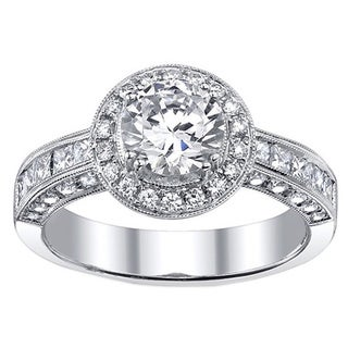 18k Gold 1 9/10ct TDW EGL-certified Diamond Engagement Halo Ring (I, SI3)