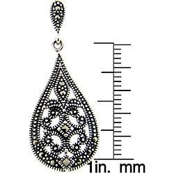 Dolce Giavonna Sterling Silver Marcasite Filigree Design Art Deco Teardrop Earrings