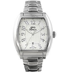 Gino Franco Men's Water-Resistant Stainless-Steel Silver Dial Watch