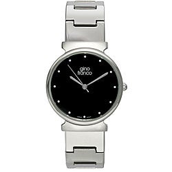 Gino Franco Men's Stainless Steel Black Dial Watch