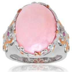 Michael Valitutti Palladium/ Silver/ 18k Vermeil Pink Opal and Ruby Ring