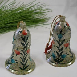 Set of 2 Paper Mache Christmas Ornaments (India)