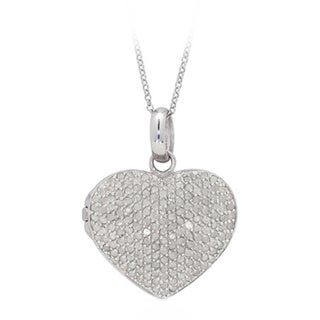Finesque Sterling Silver 2ct TDW Pave Diamond Heart Locket Necklace with Red Bow Gift Box