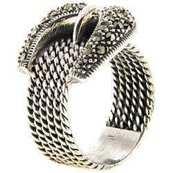Dolce Giavonna Sterling Silver Marcasite Cable Design Buckle Ring