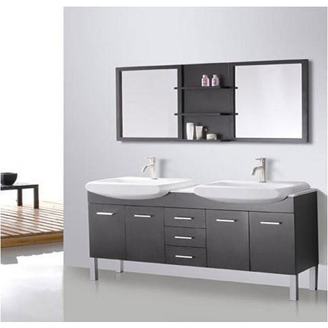 Design Element Tustin 72 Inch Double Sink And Mirror Bathroom Vanity Set Ov
