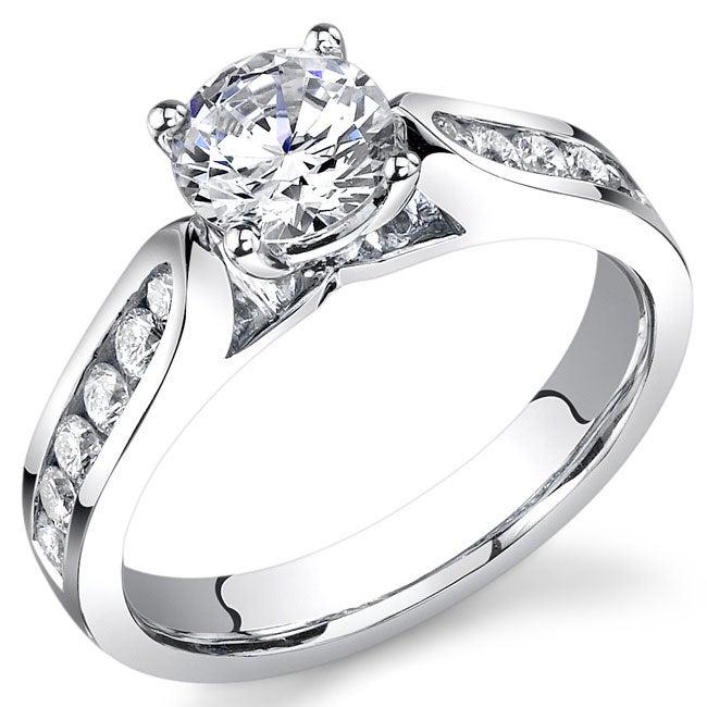 18k White Gold 1 1/5ct TDW EGL Certified Diamond Engagement Ring (G-H, SI1)