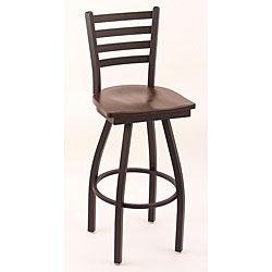 Cambridge Black 30-Inch Counter Swivel Stool with Dark Cherry Wood Maple Seat