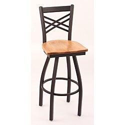 Cambridge Black 30-inch Counter Swivel Stool with Medium Maple Seat
