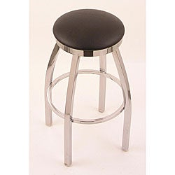 Chrome Single-ring 30-inch Backless Counter Swivel Stool with Black Vinyl Cushion Seat