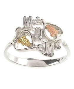Black Hills Gold and Sterling Silver Mom Ring
