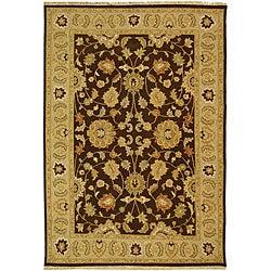 Indo Handmade Sumak Flatweave Brown/ Beige Rug (4' x 6')