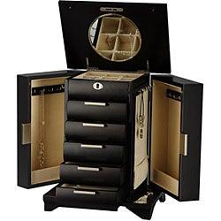 Contemporary Espresso Jewelry Box with Lock and Key