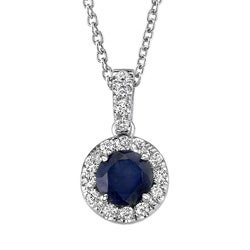 14k White Gold Blue Sapphire and 1/6ct TDW Diamond Necklace