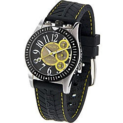 Haurex Italy Men's Promise Chronograph Black and Yellow Watch