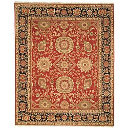 Oushak Hand-knotted Esfan Red/ Navy Wool Rug (6' x 9')