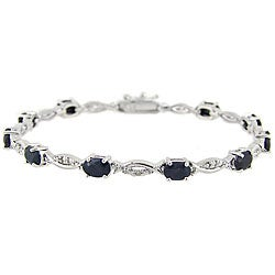 Glitzy Rocks Sterling Silver Diamond Accent Sapphire Bracelet