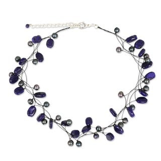 'Ethereal' Pearl and Lapis Lazuli Choker (Thailand)