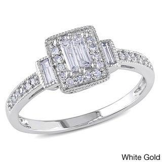 Miadora 10k White Gold 1/3ct TDW Baguette Diamond Ring (H-I, I1-I2)